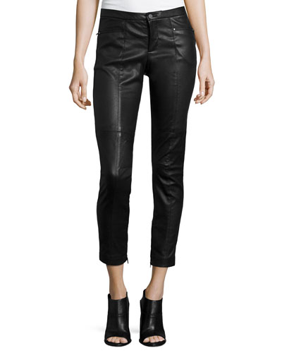 Leather Stretch Moto Pants, Black