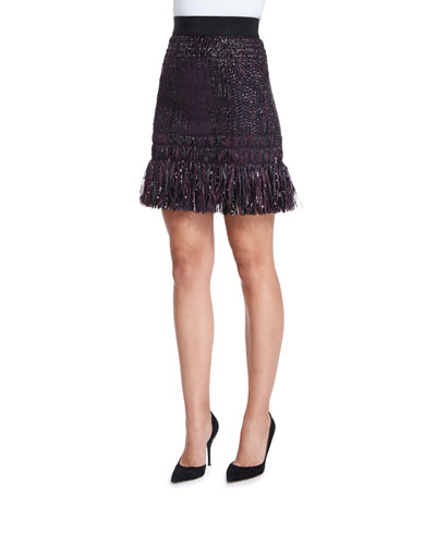 Couture Tweed Fringe Skirt