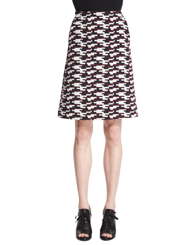 Geometric-Print Jacquard Skirt