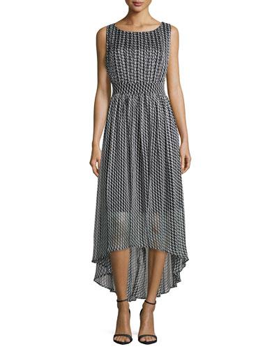 Sleeve Houndstooth Dress W/ High-Low Hem