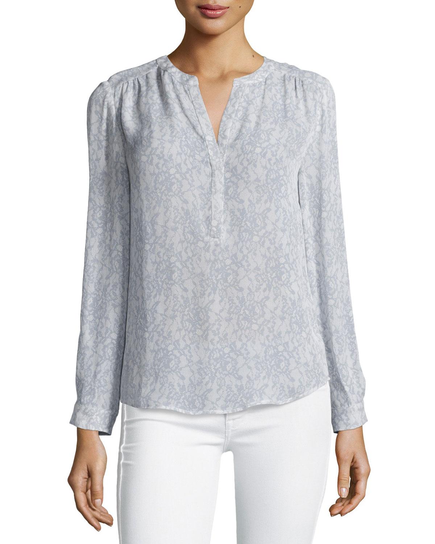 Carita Long-Sleeve Lace-Print Top