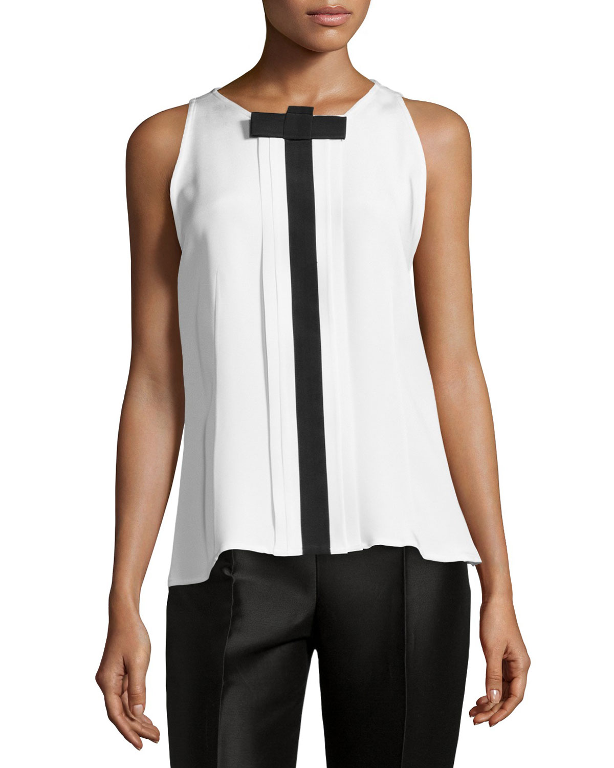 Sleeveless Pleated-Front Blouse, White