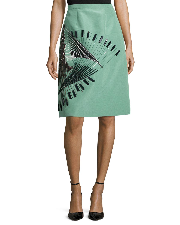 Embellished Pencil Skirt, Tea Green