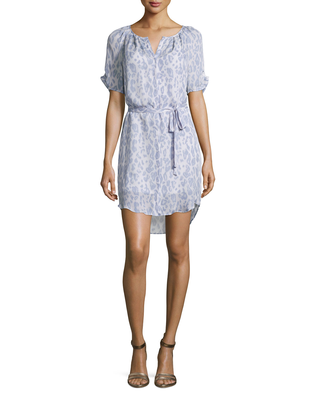 Onalee Animal-Print Belted Dress, Icy Lilac