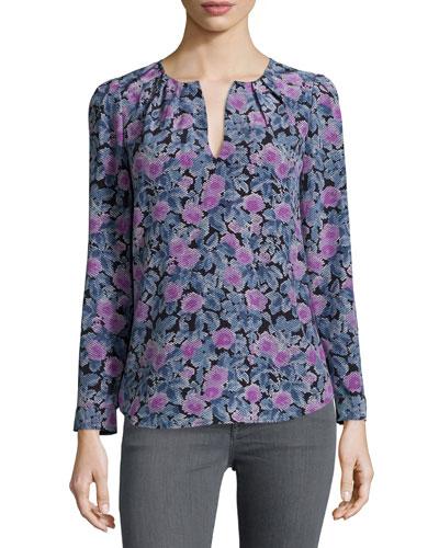 Zahira Floral-Print Silk Top