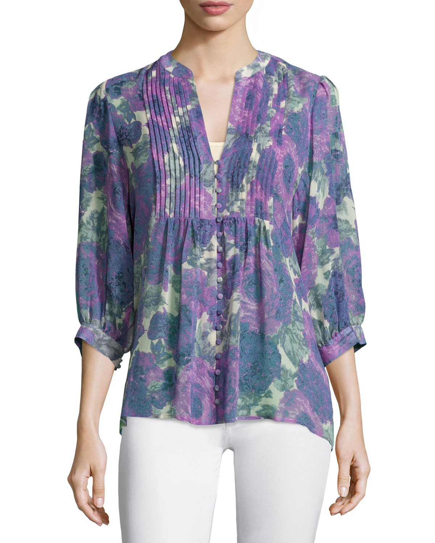 Datev Floral-Print Silk Top