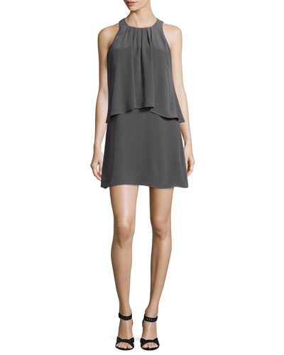 Everla High-Neck Solid Silk Dress