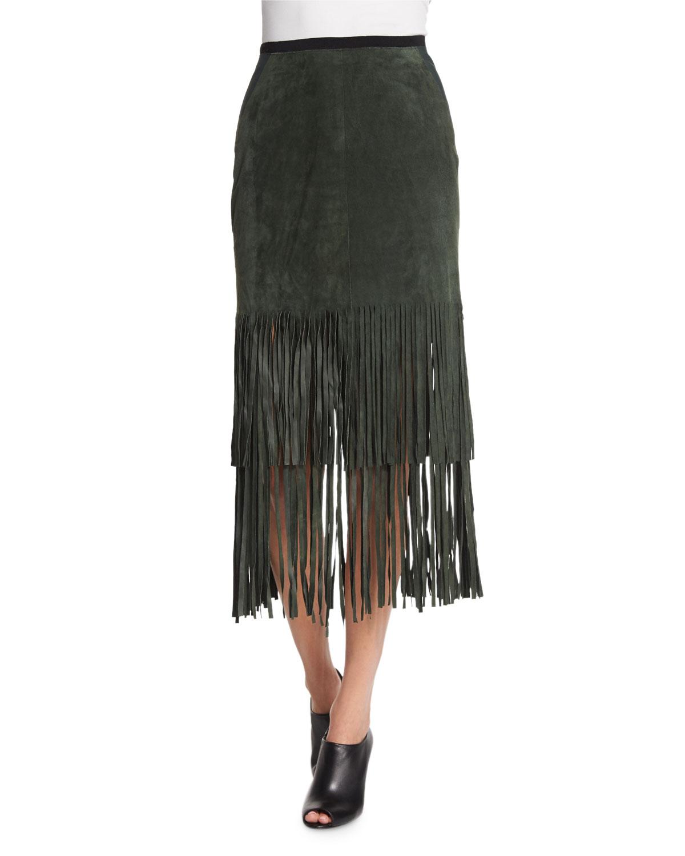 Charlotte Suede Skirt W/ Fringe Hem