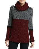 Birdseye-Knit Sweater W/ Removable Scarf