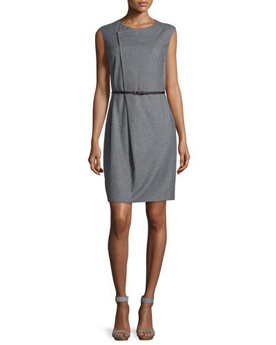 Sleeveless Asymmetric Belted Sheath Dress