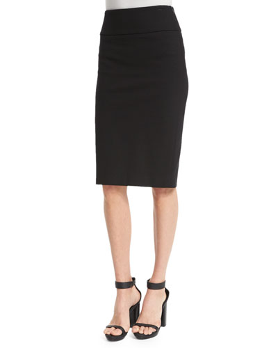 Mid-Rise Ponte Pencil Skirt, Black