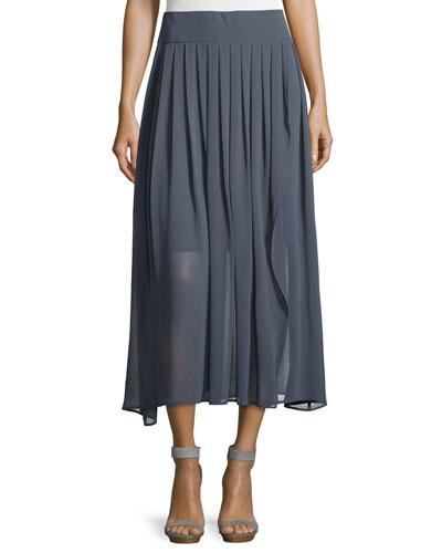 Pleated Long Chiffon Skirt