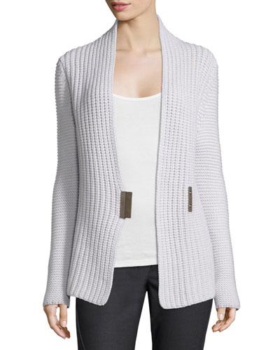 Popcorn-Knit Asymmetric Cardigan