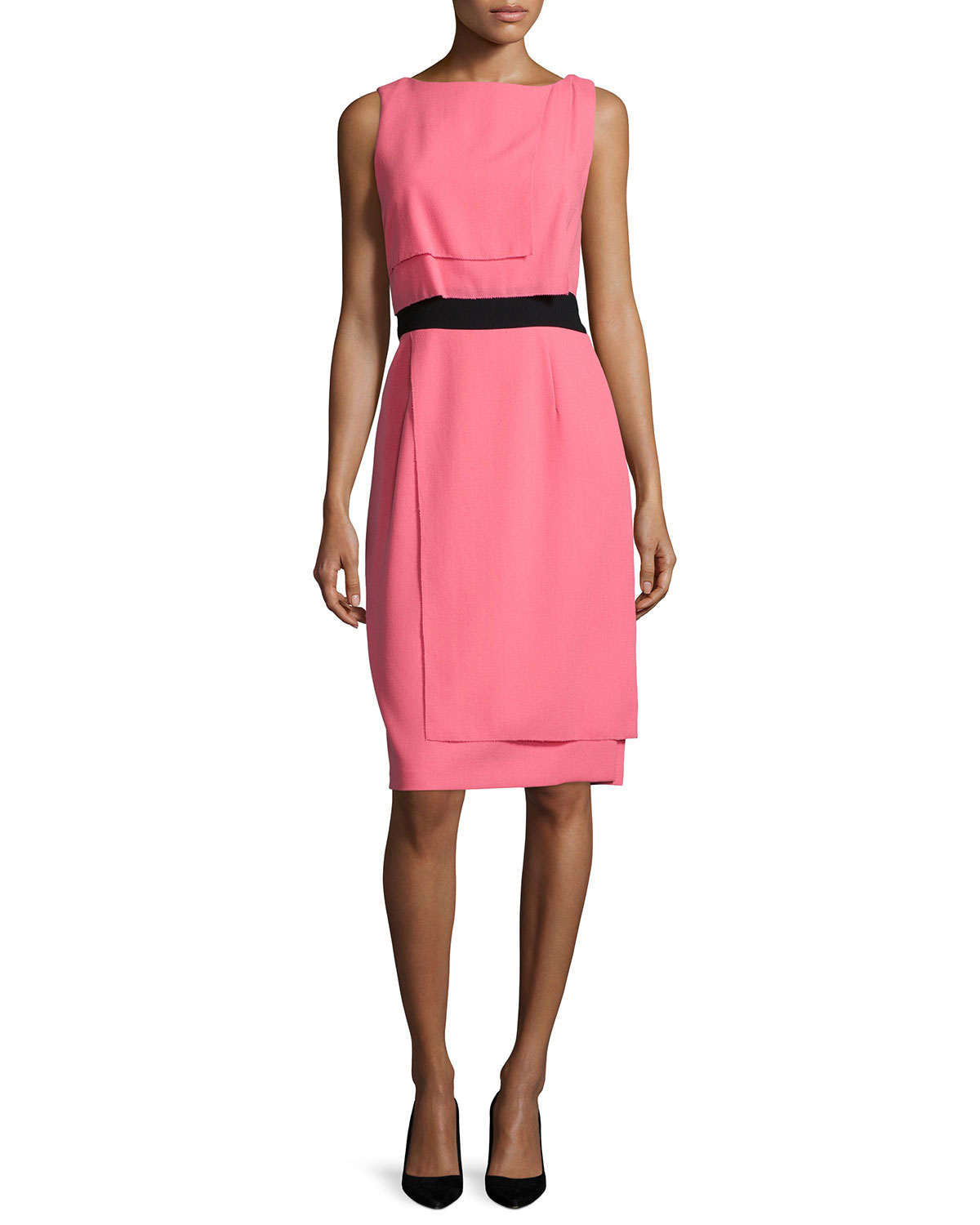 Sleeveless Two-Tone Layered Dress, Shell Pink