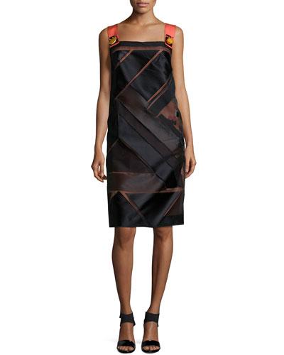 Sleeveless Geometric Cocktail Dress, Pink/Black