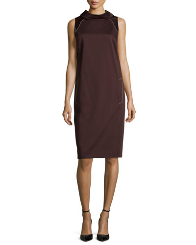 Sleeveless Contrast-Stitching Sheath Dress, Smoky Umber