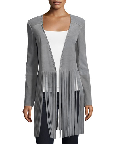 Christy Open-Front Fringe Jacket, Light Gray