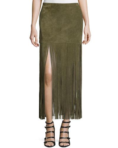 Mimi Maxi Skirt W/Fringe, Army Green