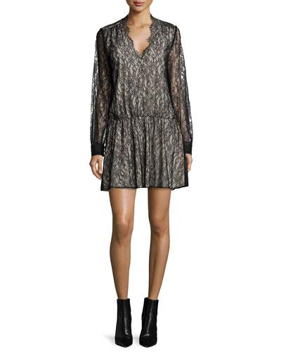 Deena Lace Blouson Dress, Black/Brown