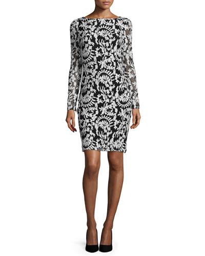 Katy Embroidered Sheath Dress, Black/White