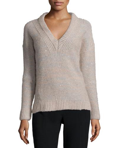 Melange Sparkled V-Neck Sweater