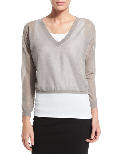 Two-Piece Sweater Set, White/Metallic Taupe