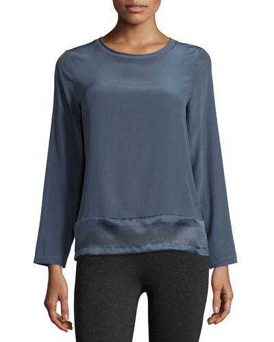 Long-Sleeve Silk Top with Organza Hem