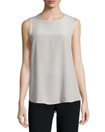 Sleeveless Silk Shell, Stone