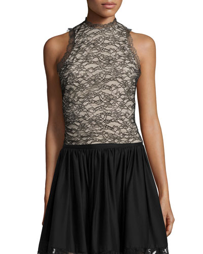 Emery Lace Mock-Neck Top, Black/Brown