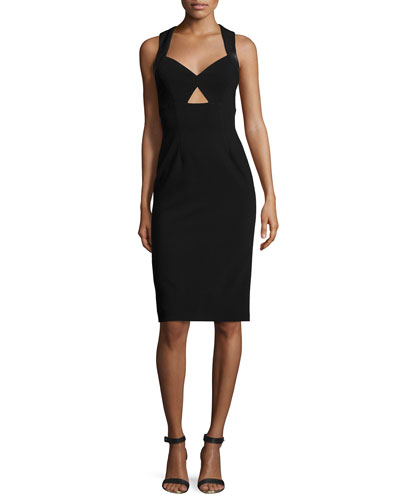 Hera Leather-Trim Racerback Sheath Dress, Black