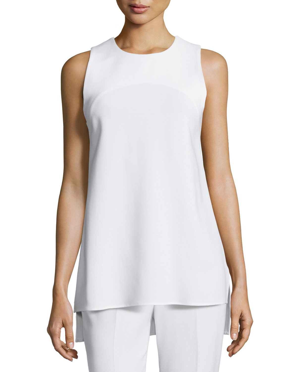 Parieom Sleeveless Jewel-Neck Top, Eggshell