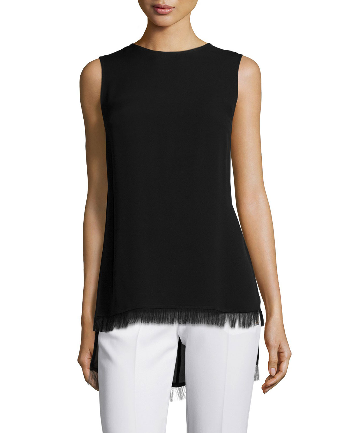 Yinga F. Fringe-Trimmed Top, Black