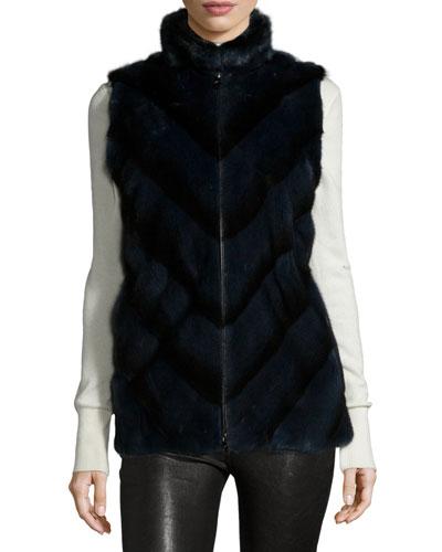 Mink Fur Chevron Zip Vest, Black Iris