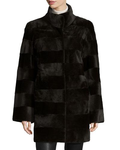 Reversible Sheared Horizontal Mink Fur Stroller Coat, Dark Brown