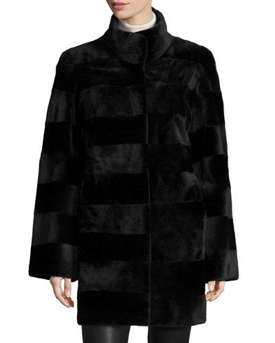 Horizontal-Cut Reversible Mink Stroller Coat, Black