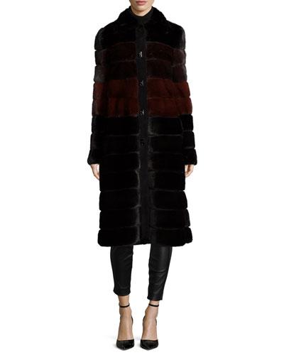 Colorblock Horizontal-Mink Fur Coat, Black/Garnet/Mahogany