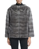 Zip-Front Reversible Fur Jacket, Blue Iris