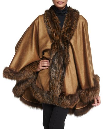 Cashmere Cape with Fox Fur Trim, Camel