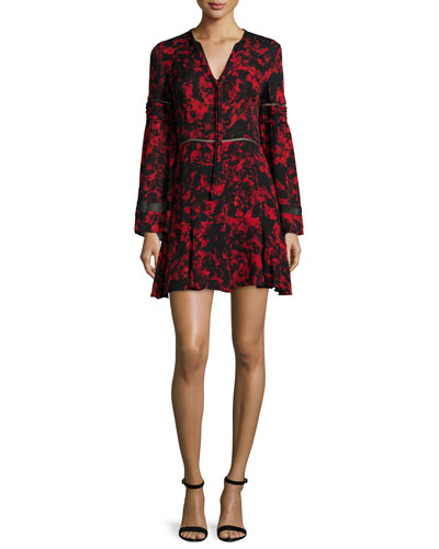 Milly Long-Sleeve Mini Dress, Poinsettia Garland