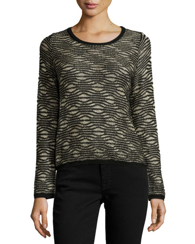 Bellerose Long-Sleeve Metallic Sweater, Black