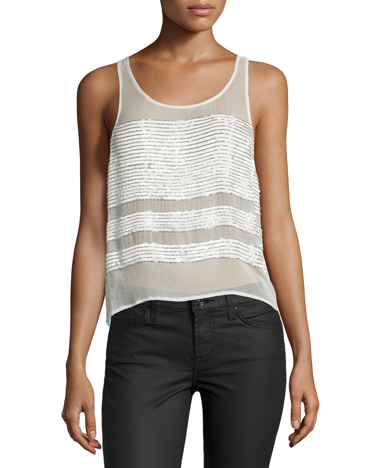Naples Sequined-Stripe Top, Ivory