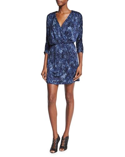 Catalina 3/4-Sleeve V-Neck Dress, Rosette