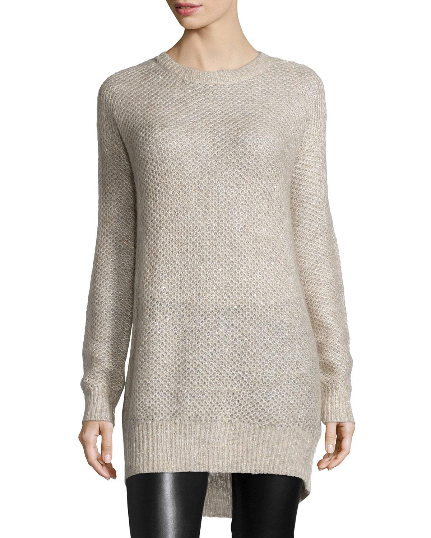 Ave Wool Sequin-Trim Sweater, Cream