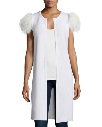 Mongolian-Shoulder Long Cashmere Vest