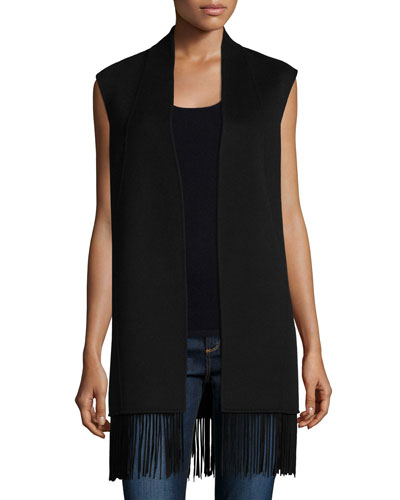 Double Woven Vest with Fringe Trim