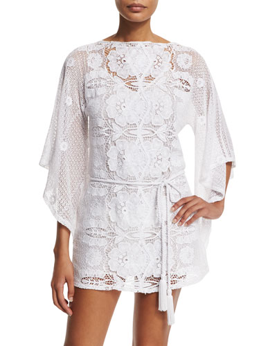 Claudia Floral-Crochet Coverup Dress
