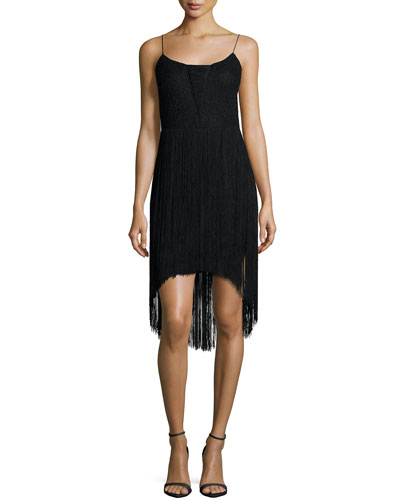 Sleeveless Fringed High-Low Cocktail Dress
