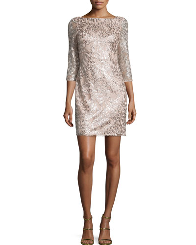 3/4-Sleeve Leaf-Pattern Sequined Dress