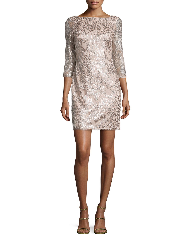 3/4-Sleeve Leaf-Pattern Sequined Dress