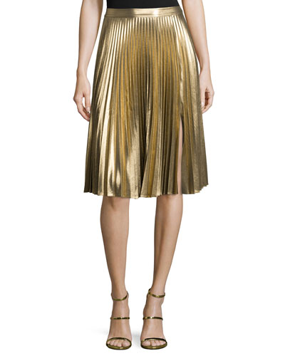 Gates Pleated Metallic Skirt, Gold